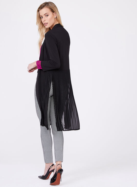 Long Pleated Open Front Cardigan, Black, hi-res