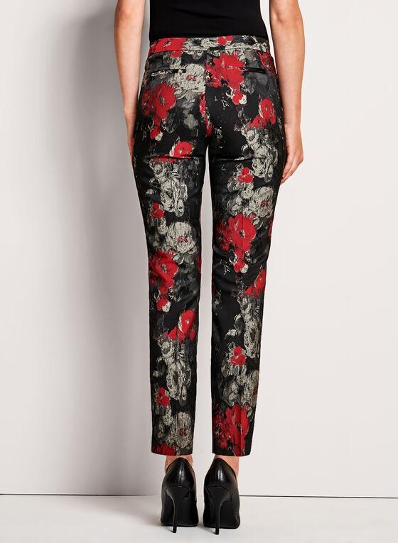 Watercolour Floral Jacquard 7/8 Pants, Black, hi-res