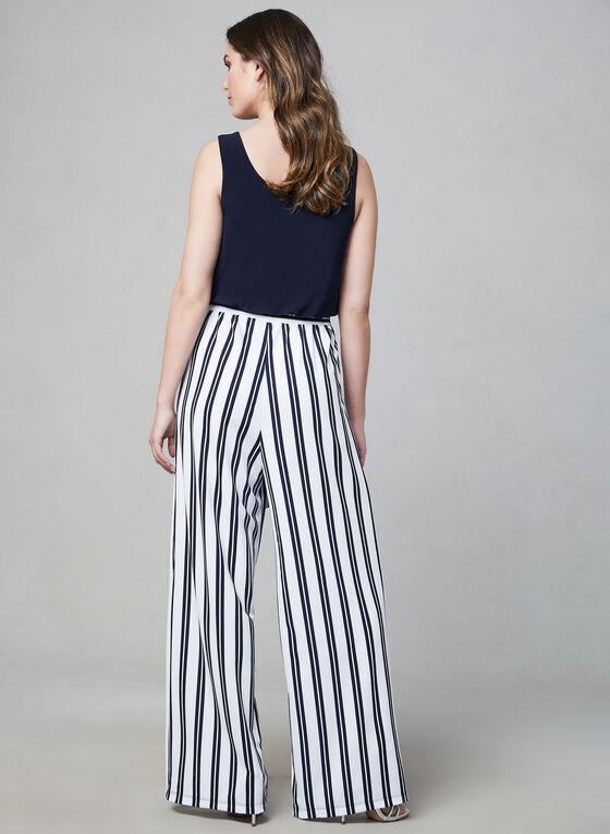 Emma & Michele - Stripe Print Jumpsuit, Blue, hi-res