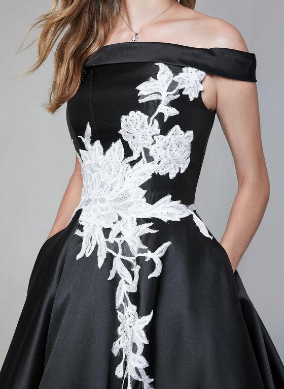 Terani Couture - Robe satinée à détails brodés, Noir, hi-res