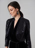 Eliza J - Open Front Sequin Bolero , Black