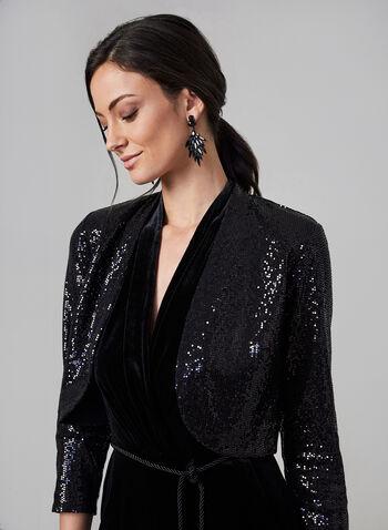 Eliza J - Open Front Sequin Bolero , Black, hi-res,  bolero, open front, 3/4 sleeves, sequins, shoulder pads, fall 2019