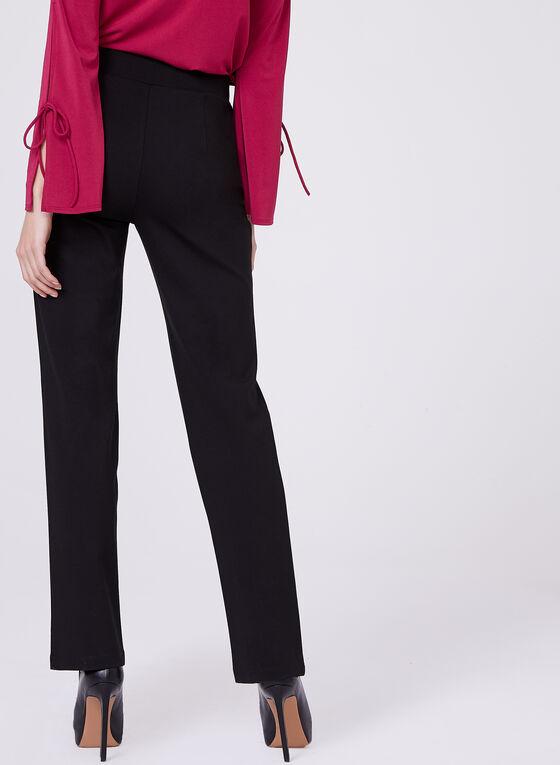 Ponte & Faux Leather 7/8 Pants , Black, hi-res