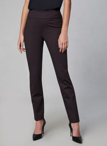 Pantalon coupe Madison motif pied-de-poule, Noir,  pantalon, madison, pied-de-poule, point de Rome, pinces, automne hiver 2019
