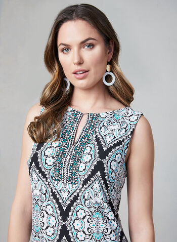 Sandra Darren - Mosaic Print Dress, Black, hi-res,  sleeveless, textured, spring 2019, summer 2019, jersey,