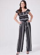 Stripe Print Off The Shoulder Jumpsuit, Black, hi-res