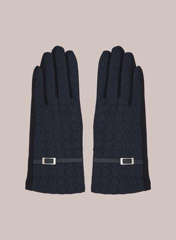 Gants matelassés à détail bouclé, Bleu,  automne hiver 2020, nylon, texturé, matelassé, boucle