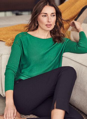 Dolman Sleeve Button Detail Sweater, Green,  sweater, ribbed knit, dolman sleeve, button details, boat neck, spring summer 2021