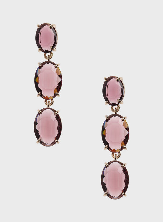 Three-Tier Faceted Stone Drop Earrings , Pink, hi-res