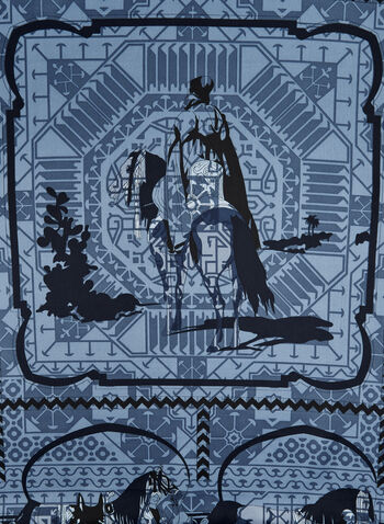Horse & Rider Print Scarf, Blue, hi-res,  silky, polyester, equestrian, horse, rider, fall 2019, winter 2019
