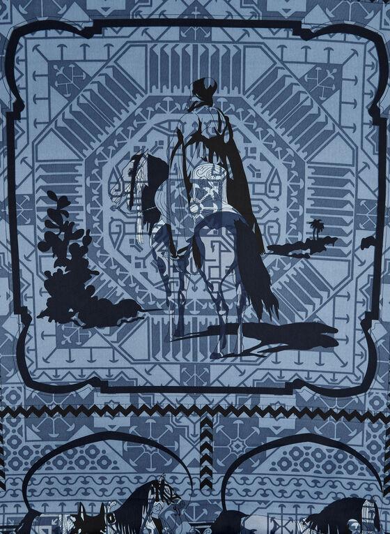 Foulard carré à imprimé d'inspiration équestre, Bleu