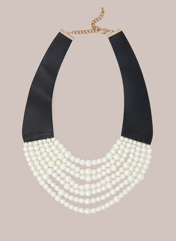 Multi Row Pearl Necklace, Off White,  fall winter 2020, necklace, pearl, jewelry, jewellery, accessories