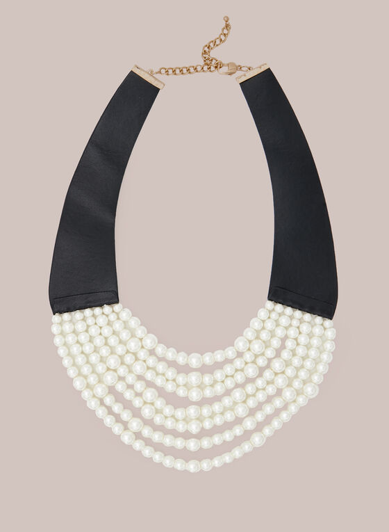 Multi Row Pearl Necklace, Off White