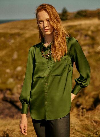 Blouse bouffante avec rivets , Vert,  automne hiver 2020, blouse, haut, manches longues, bouffant, satin, boutons, poches, rivets