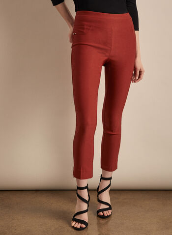 Zipper Hem Pull-On Capris, Red,  capris, pull-on, ankle zipper, pockets, bengaline, stretchy, spring summer 2020