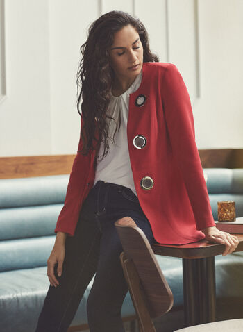 Vex - Redingote Style Blazer, Red,  vex, spring summer 2021, stretchy fabric, long sleeves, grommet details