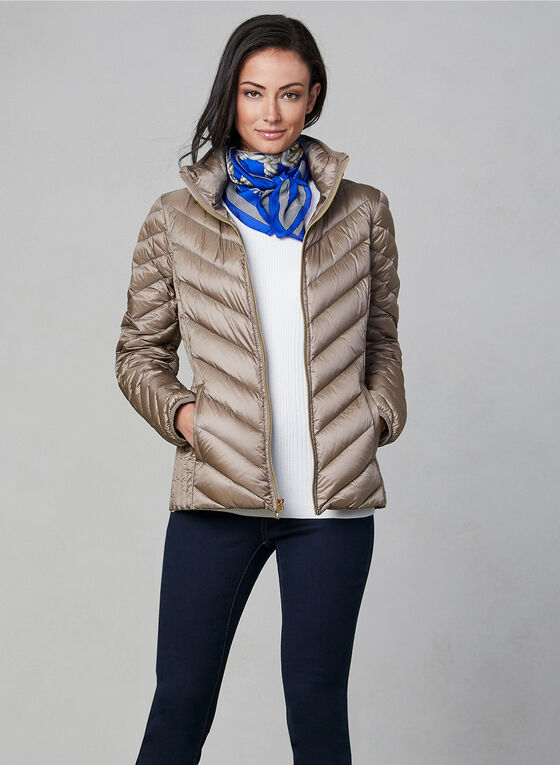 Anne Klein - Short Down Quilt Coat, Off White