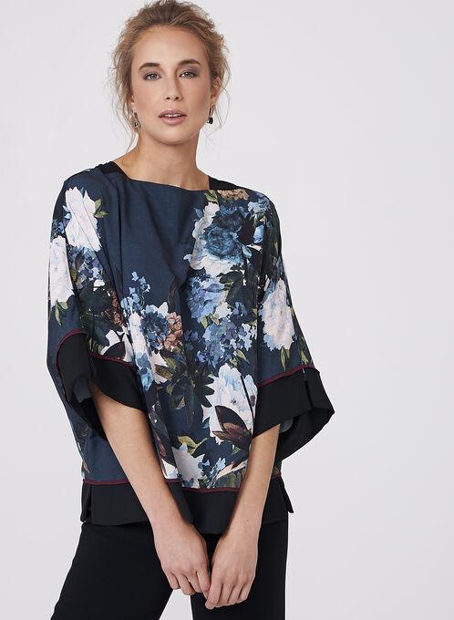 Blouse kimono fleurie à manches 3/4, Vert, hi-res