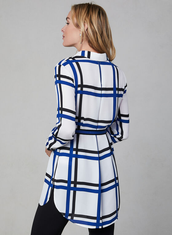 Plaid Print Belted Tunic, White, hi-res