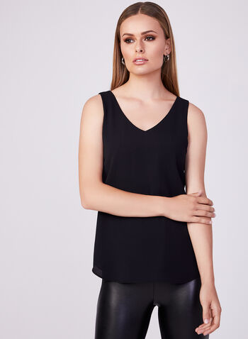 V-Neck Crepe Sleeveless Blouse, Black, hi-res