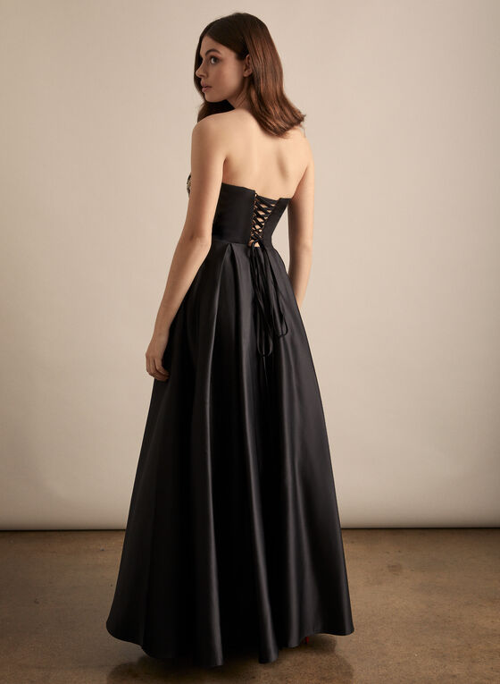 Embroidered Bustier Ball Gown, Black