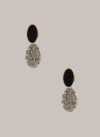 Faceted Stone Cluster Earrings, Black,  earrings, crystal, two tier, contrast, oval, fall winter 2020