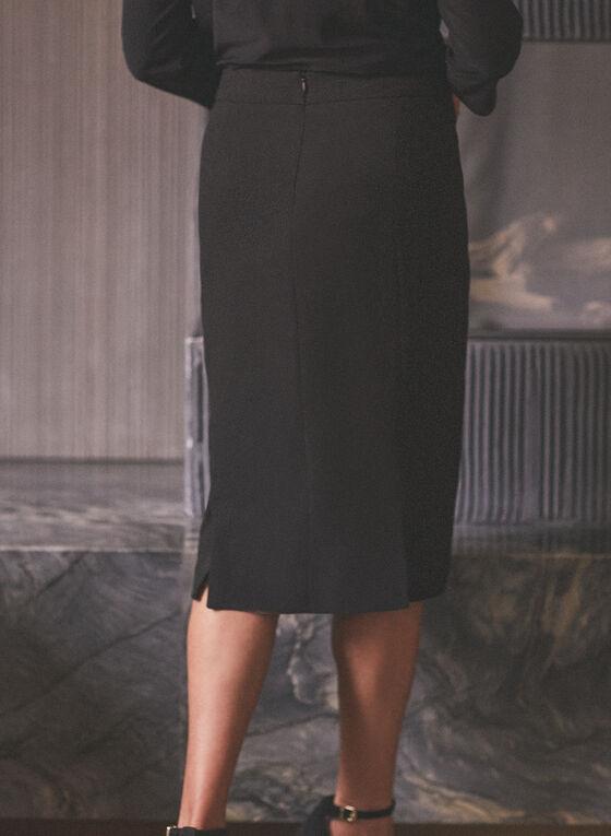 Button Detailed Pencil Skirt, Black