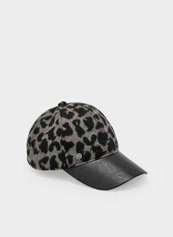 Vince Camuto - Casquette à motif léopard, Gris, hi-res,  casquette, léopard, poilu, similicuir, automne hiver 2019