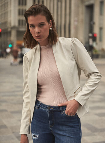 Open Vegan Leather Jacket, Off White,  fall winter 2020, vegan leather, faux leather, open, edge to edge, stand collar, puff sleeve, long sleeve, zip pocket, layer, jacket
