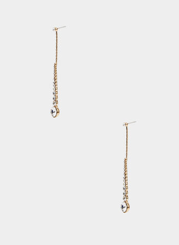 Linear Dangle Earrings, Gold, hi-res