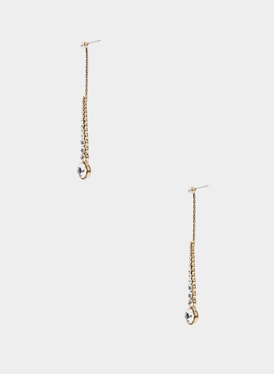 Boucles d'oreilles baguettes à cristaux, Or, hi-res