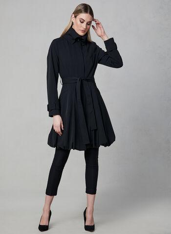 Manteau imperméable à col montant, Noir, hi-res,  trench, manteau de pluie, pluie, ceintré, ballon