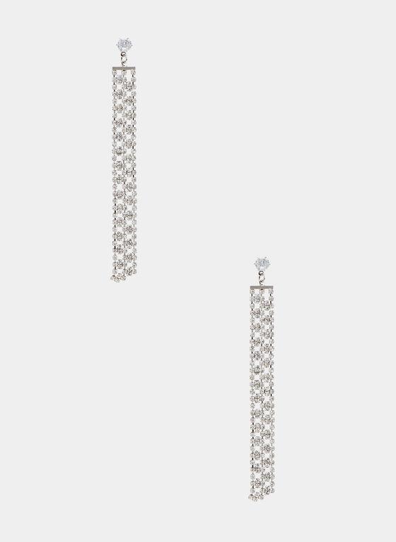 Crystal Fringe Dangle Earrings, Silver