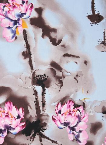Floral Print Necktie Scarf, Blue,  scarf, necktie scarf, necktie, floral print, flower print, floral print scarf, spring 2020, summer 2020
