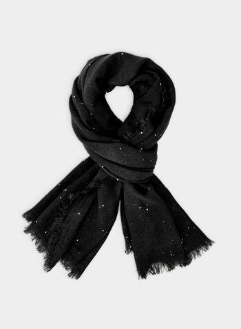 Foulard pashmina à détails sequins, Noir, hi-res,  foulard, pashmina, sequins, franges, automne hiver 2019