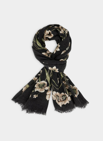 Floral Print Scarf, Grey,  scarf, lightweight, floral print, fall 2019, winter 2019