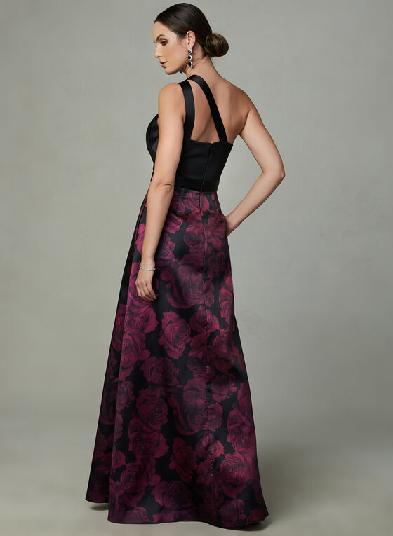 Ignite Evenings - Asymmetric Neckline Dress, Black, hi-res