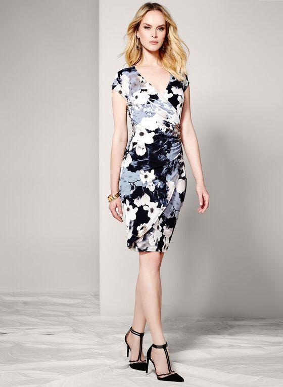 Floral Print Faux-Wrap Dress, White, hi-res