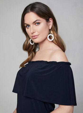 Off-the-Shoulder Jersey Top, Blue,  short sleeves, stretchy, spring 2019, summer 2019