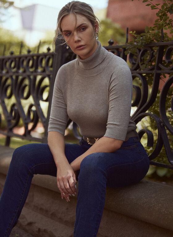 Elbow Sleeve Turtleneck Sweater, Beige