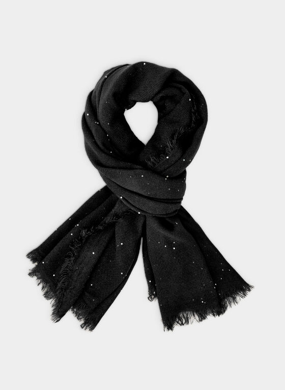 Sequin Pashmina Scarf , Black