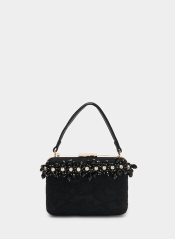 Detailed Handheld Clutch, Black,  clutch, evening clutch, chain, metallic, beads, rhinestones, holiday, purse, fall 2019, winter 2019