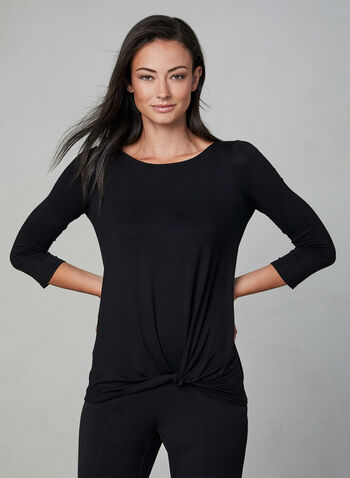 Knot Detail Long Sleeve Top, Black,  ¾ sleeves, 3/4 sleeves, scoop neck, tie detail, fall 2019, winter 2019