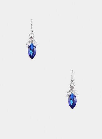 Stone Dangle Earrings, Blue,  earrings, rhinestone, stone, fall winter 2019