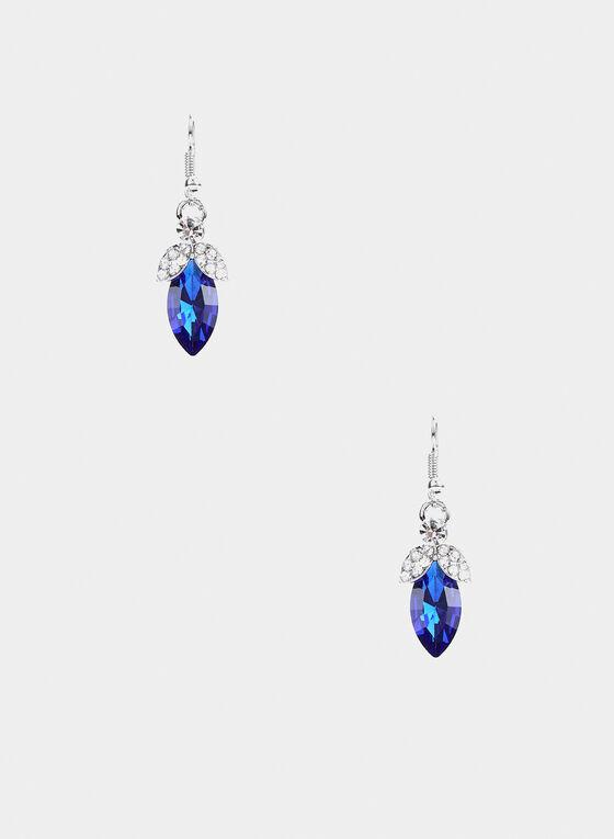Stone Dangle Earrings, Blue