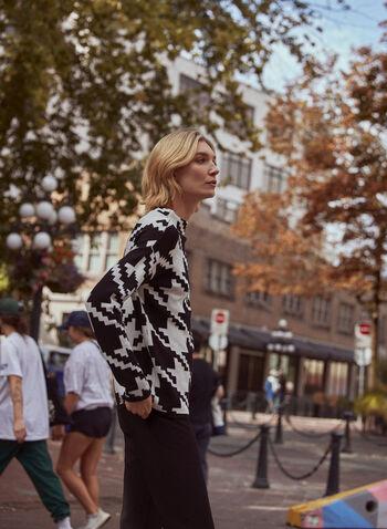 Houndstooth Print Mock Neck Sweater, Black,  sweater, mock neck, long sleeves, houndstooth, knit, fall winter 2020