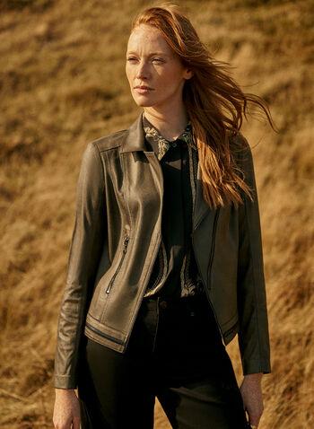 Vex - Veste aspect cuir à glissières, Vert,  automne hiver 2020, veste, cuir, faux cuir, zip, glissière, Vex