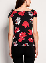 Marilyn Neck Floral Print Top, Red, hi-res