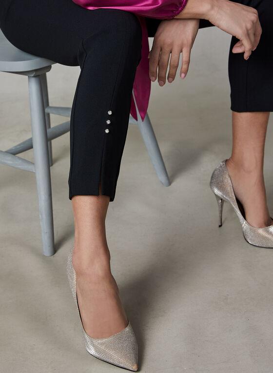Pantalon jambe étroite à cristaux, Noir, hi-res