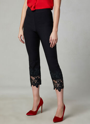 Lace Detail Capri Pants, Black, hi-res